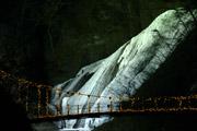 夜の袋田の滝と吊り橋